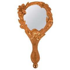 Art Nouveau Gilt Bronze Hand Mirror