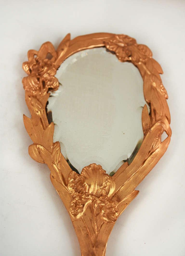 French Art Nouveau Gilt Bronze Hand Mirror For Sale
