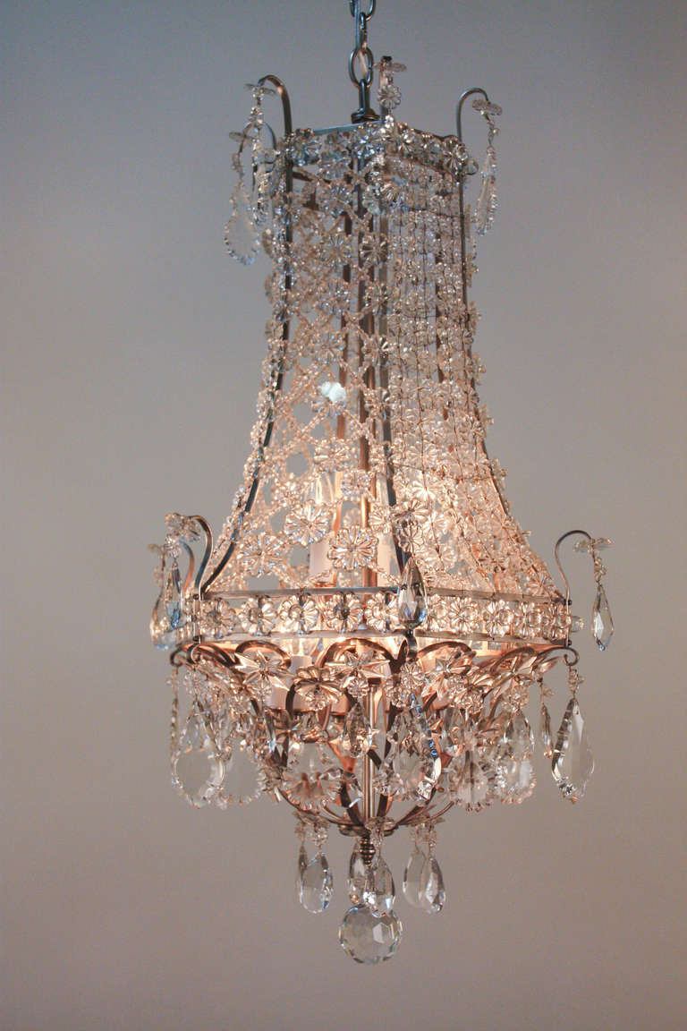 Beautiful Mid Century Crystal Chandelier at 1stdibs