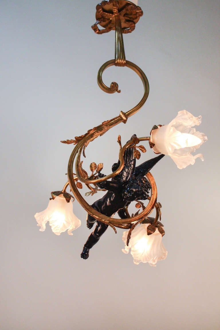 Art Nouveau Cherub Chandelier At 1stdibs