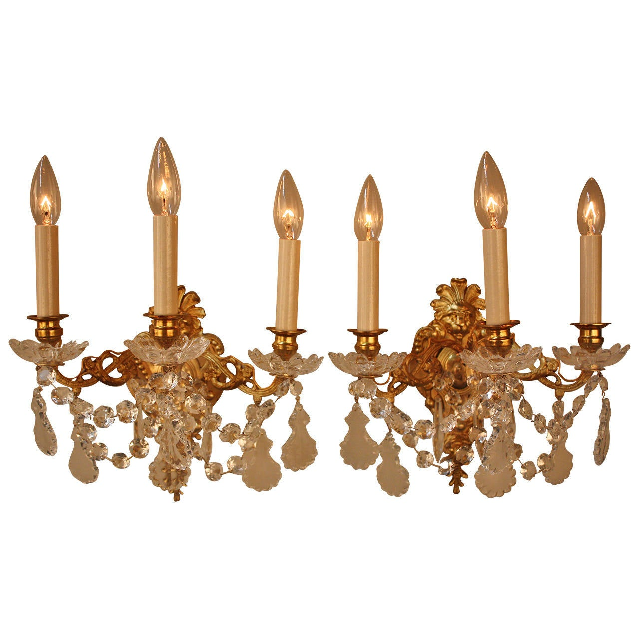 French 19th Century Crystal Wall Sconces