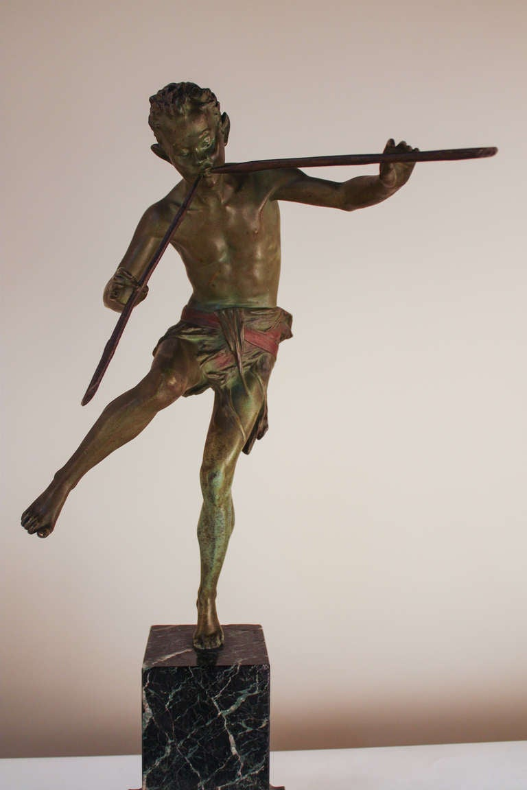 French Pan Bronze Sculpture by Broudt For Sale