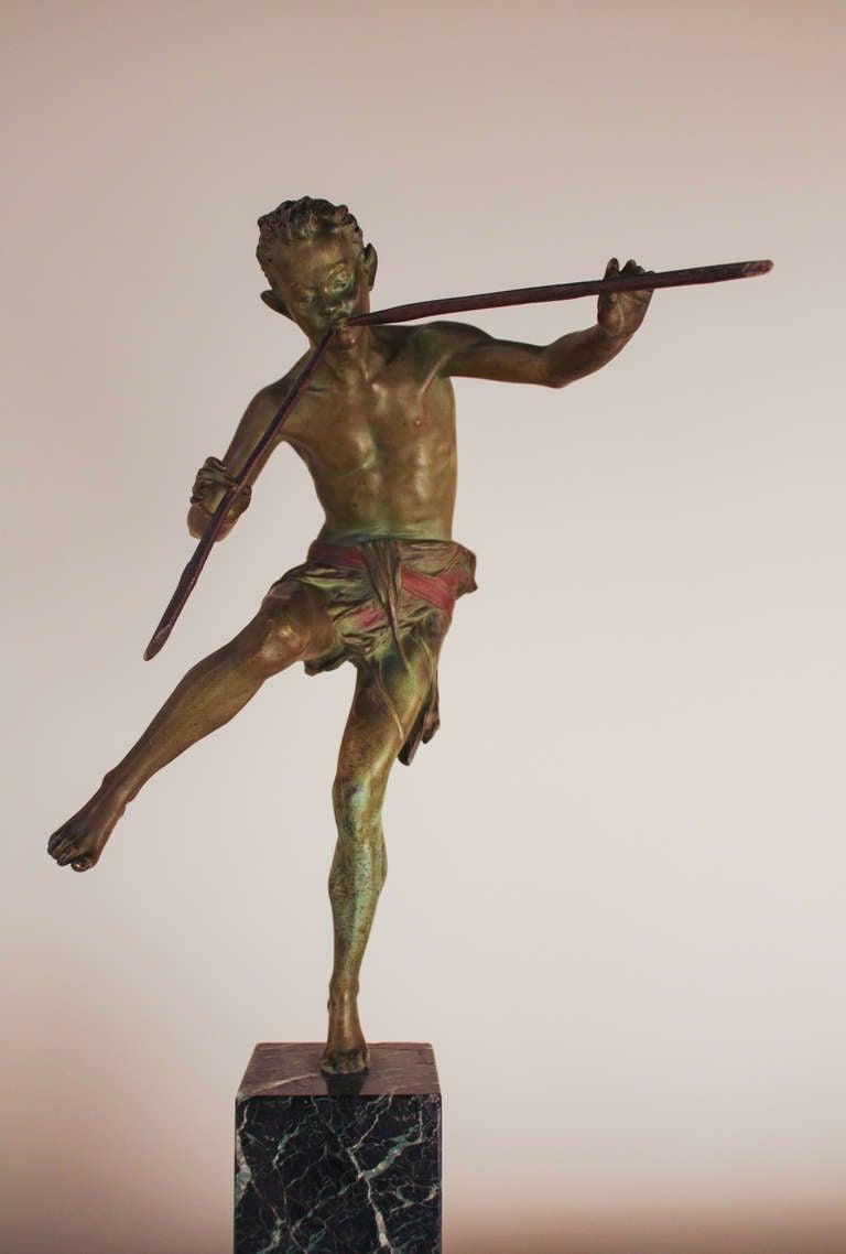 Pan Bronze Sculpture by Broudt In Good Condition For Sale In Fairfax, VA