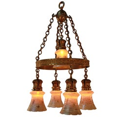 American Art Glass and Bronze Chandelier by Quezal