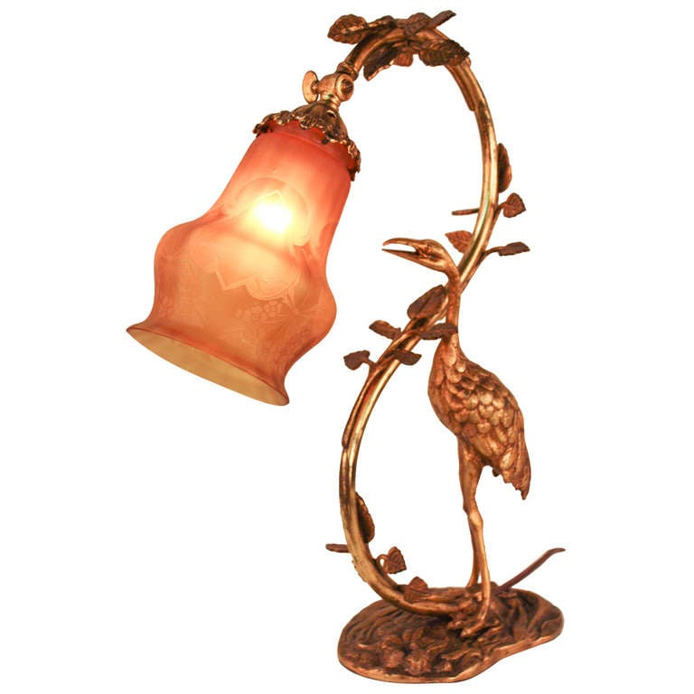 Art Nouveau Stork Table Lamp At 1stdibs