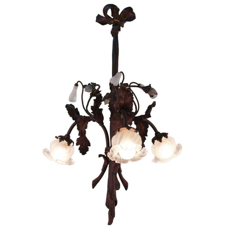 Bronze bouquet art nouveau chandelier at 1stdibs for Chandelier art nouveau