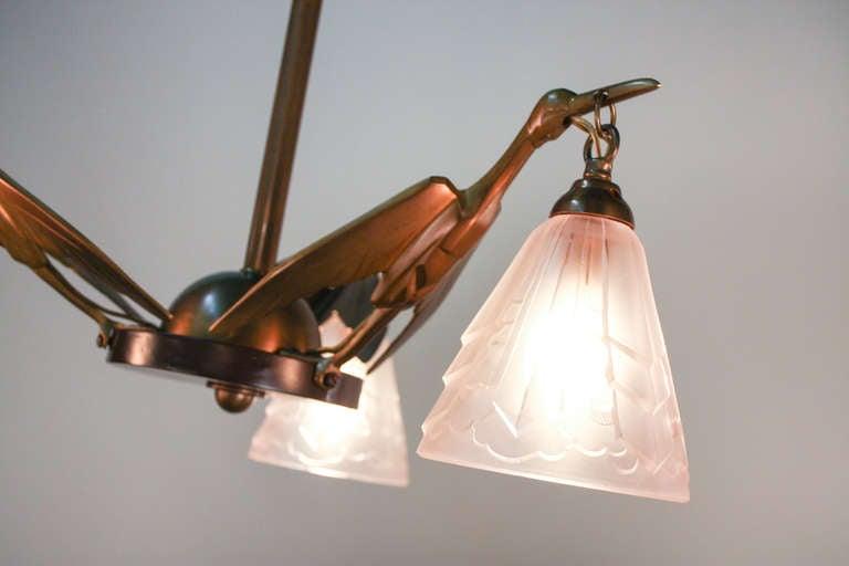 Shop Good Earth Lighting Metropolitan 3 Light Bronze: 1930's Stork Art Deco Chandelier At 1stdibs