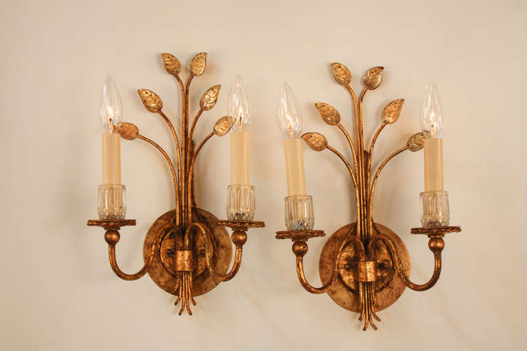Gold Leaf Wall Sconces at 1stdibs