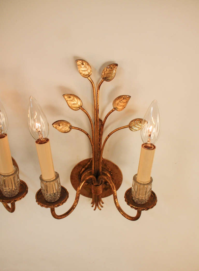 Wall Sconces With Leaves : Gold Leaf Wall Sconces at 1stdibs