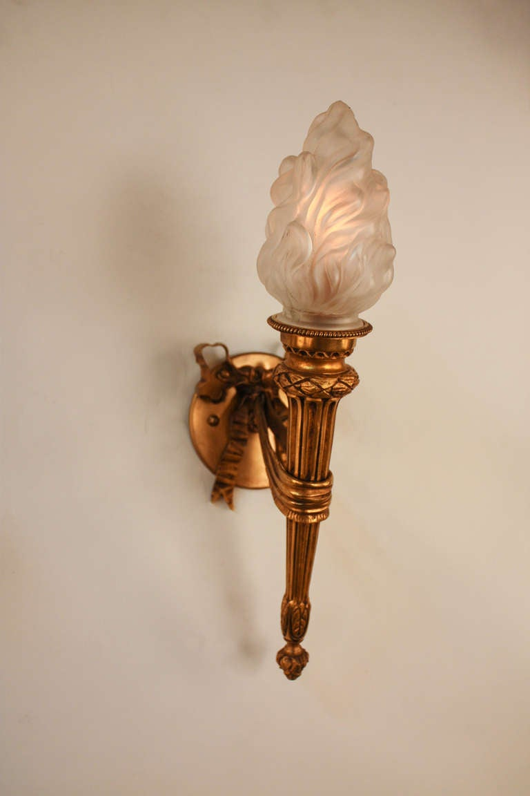 Wall Sconces That Look Like Torches : Pair of 1930 s Torch Wall Sconces at 1stdibs