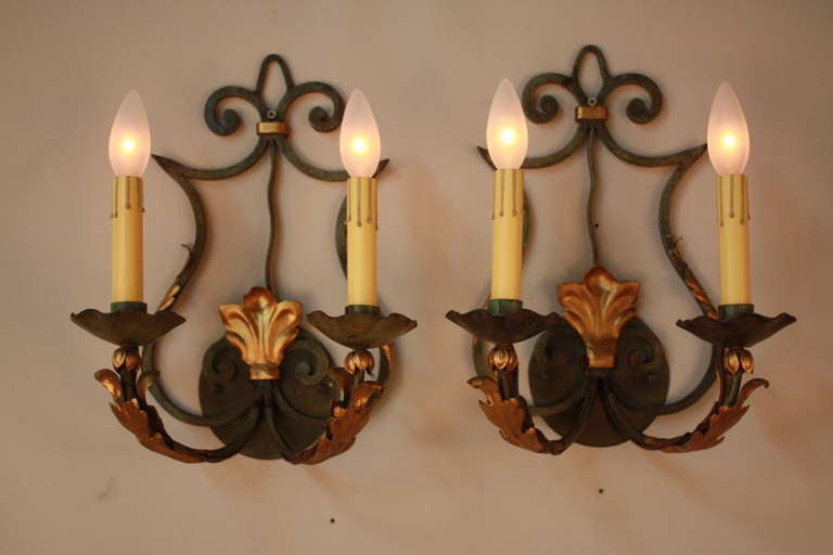 French Iron Wall Sconces : French Iron Wall Sconces at 1stdibs