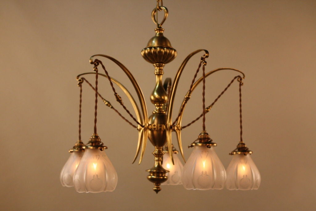 English art nouveau chandelier at 1stdibs for Chandelier art nouveau