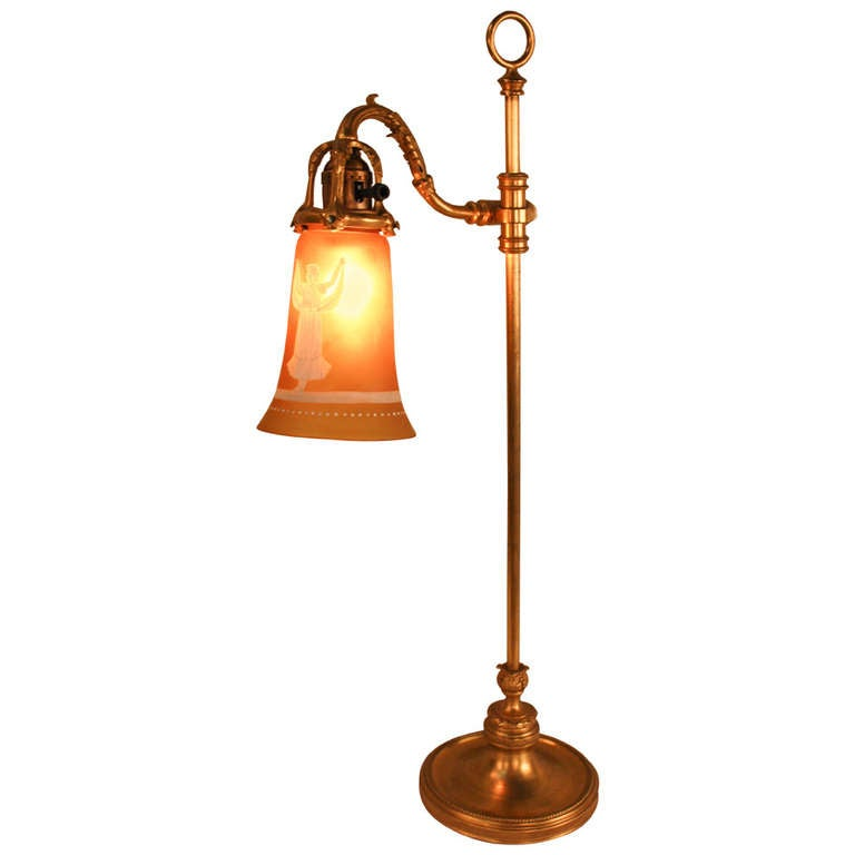 1910 S Gilt Bronze Table Lamp With Cameo Glass Shade At
