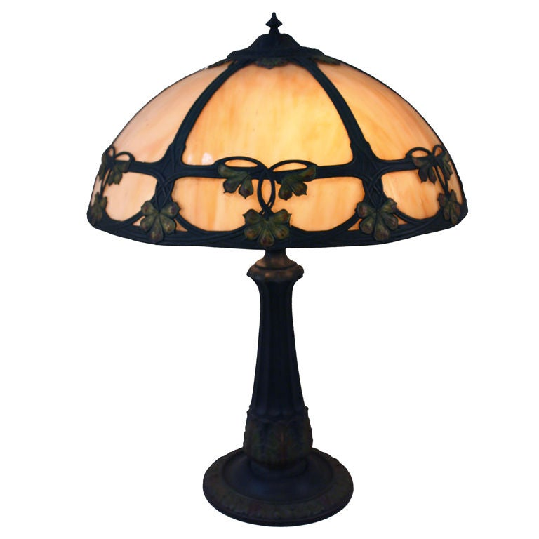 American art nouveau stained glass lamp at 1stdibs
