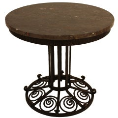 French Art Deco Iron & Marble Table