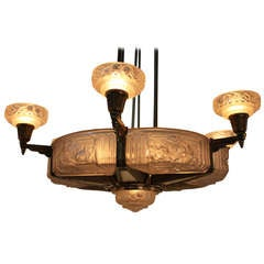 French Art Deco Chandelier By Gilles