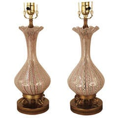 Murano Glass Table Lamps By Fratelli Toso