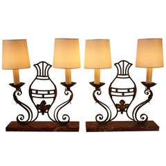French Iron Candelabra Lamps