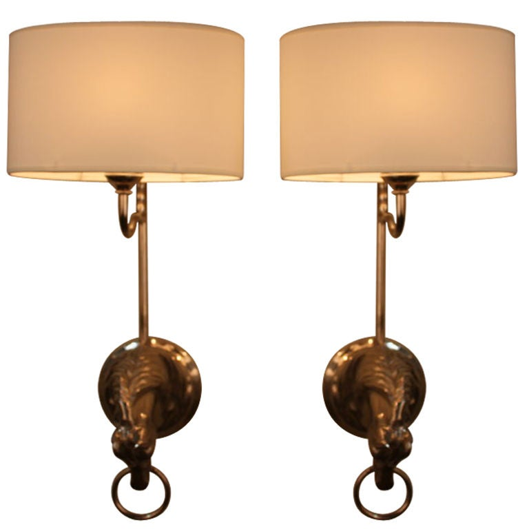 Wall Sconces Equestrian: Spanish Horse Head Wall Sconces At 1stdibs
