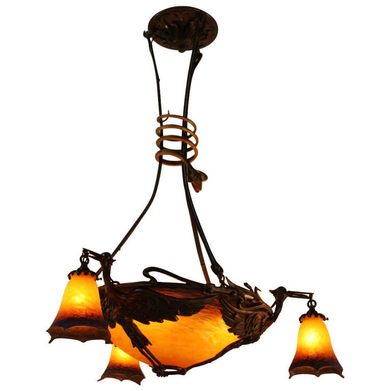 Art Nouveau Chandelier By Muller Freres At 1stdibs