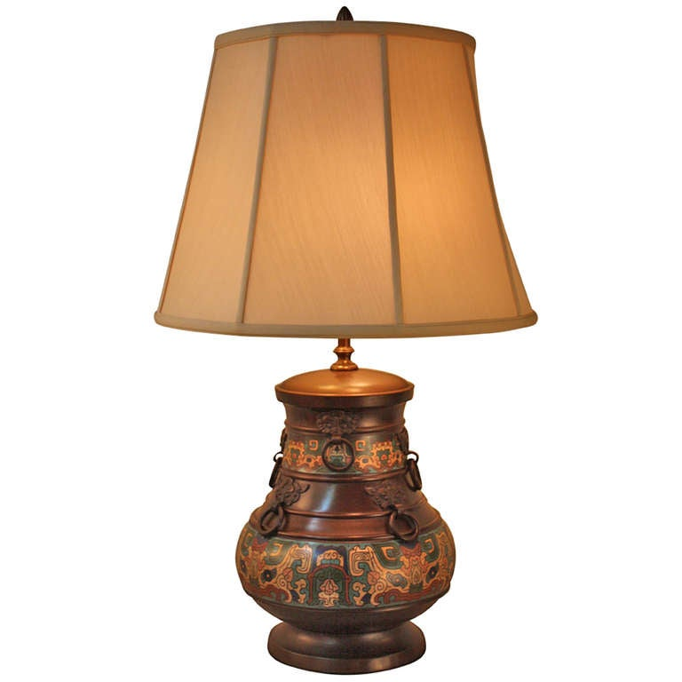 Japanese champleve table lamp at 1stdibs for Taliesin 1 table lamp