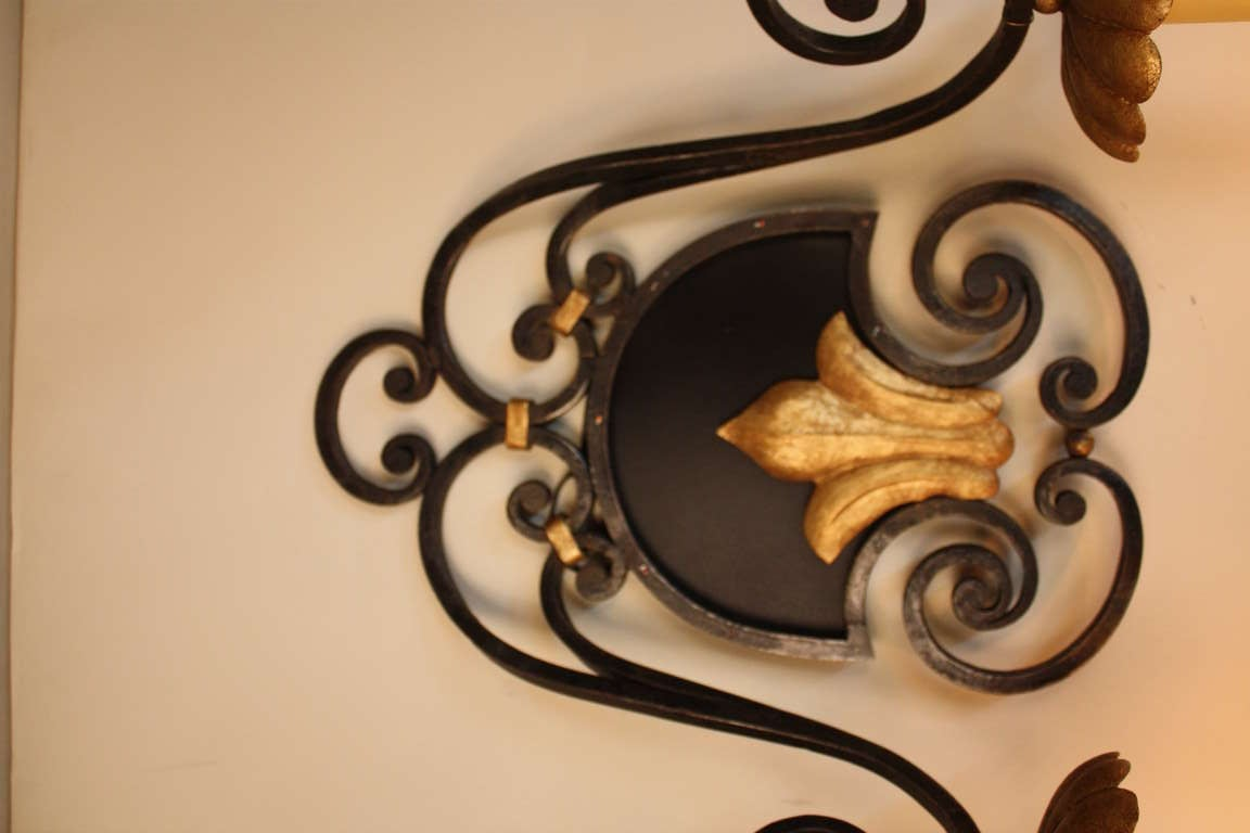 French Iron Wall Sconces : Pair of French Iron Wall Sconces For Sale at 1stdibs