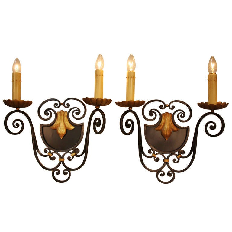 French Iron Wall Sconces : Pair of French Iron Wall Sconces at 1stdibs