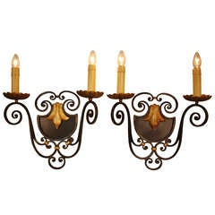 Pair of French Iron Wall Sconces