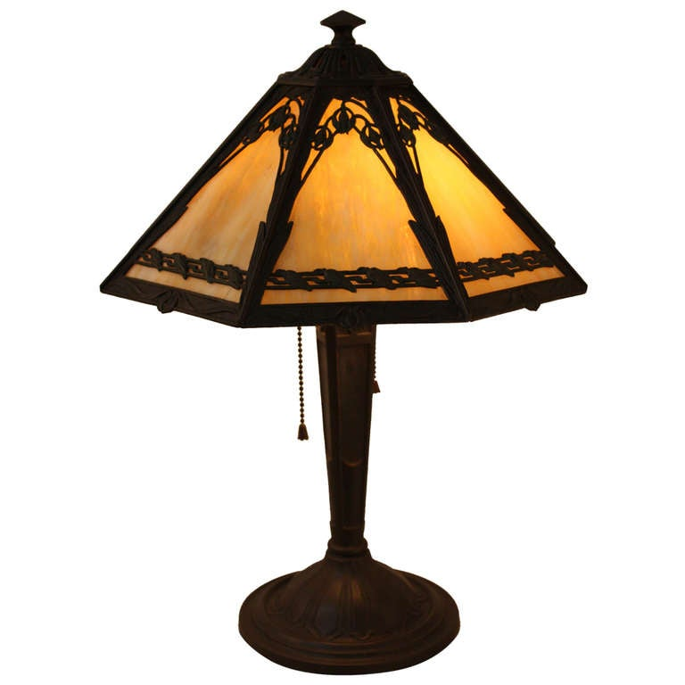 American Stained Glass Table Lamp By Bradley And Hubbard