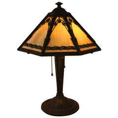 American Stained Glass Table Lamp By Bradley & Hubbard