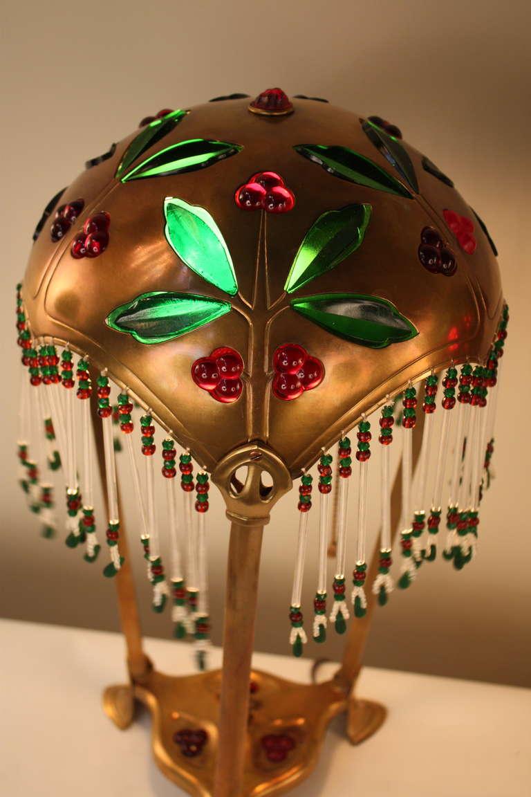 Bronze Pair of Austrian Art Nouveau Table Lamps by Geschutzt For Sale