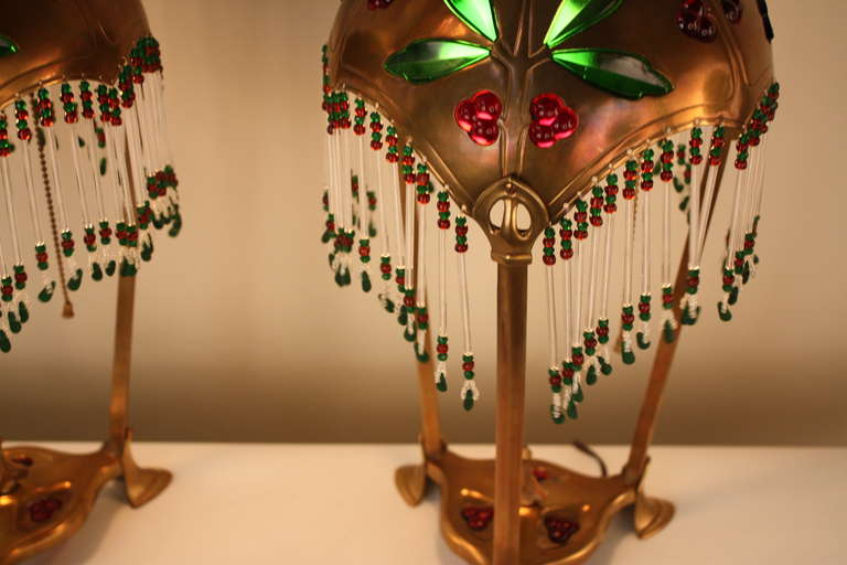 Pair of Austrian Art Nouveau Table Lamps by Geschutzt For Sale 1