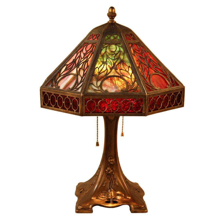 This american art nouveau table lamp is no longer available - American Slag Glass Lamp At 1stdibs