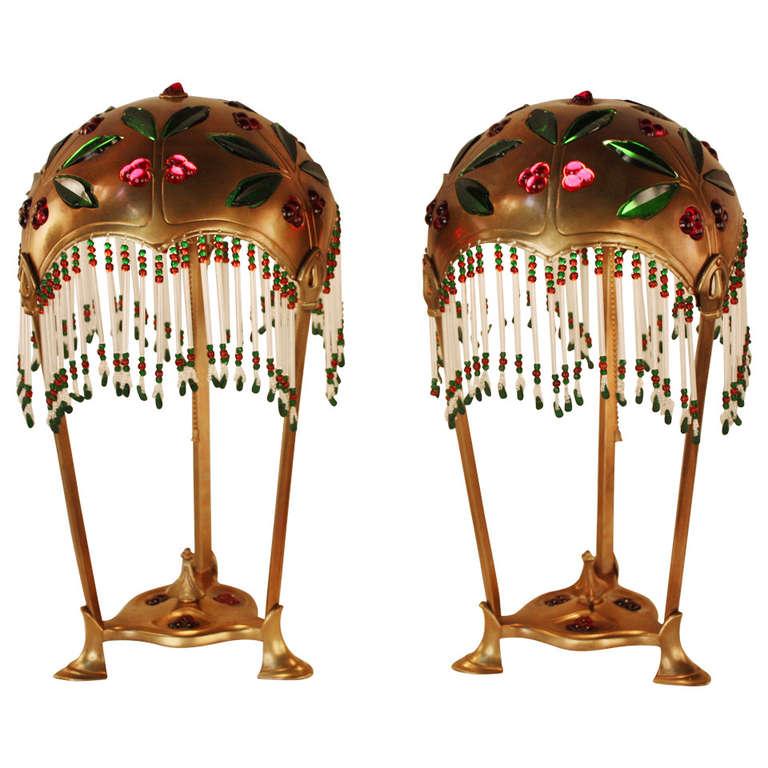 Pair of Austrian Art Nouveau Table Lamps by Geschutzt For Sale