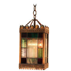 Bronze and Stained Glass Lantern