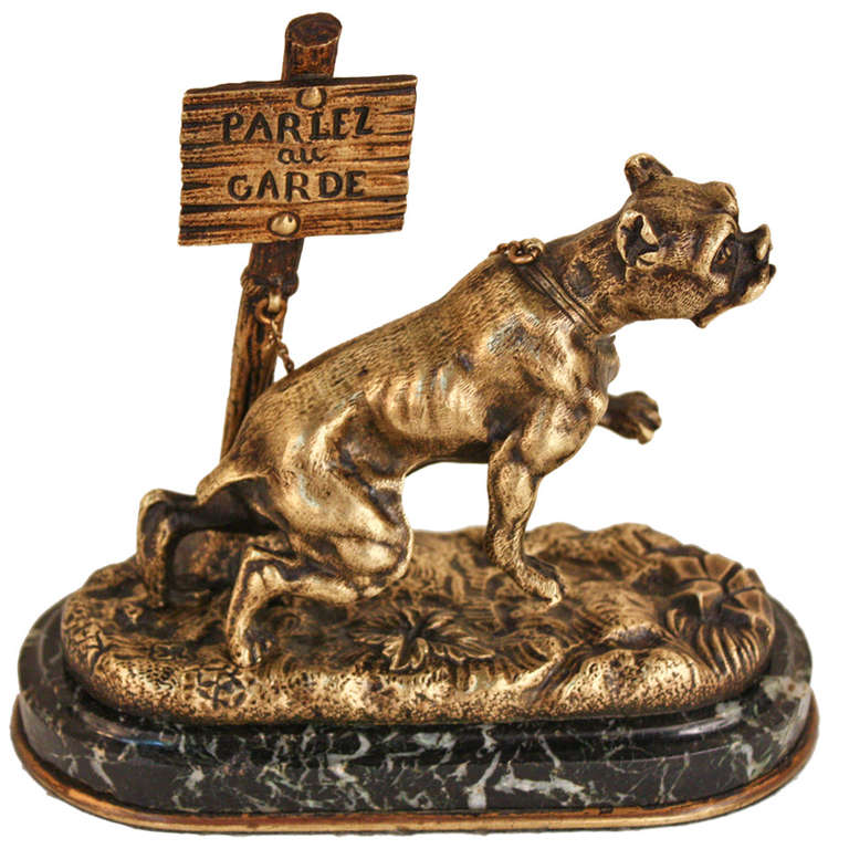 French Bronze Dog Statue 1