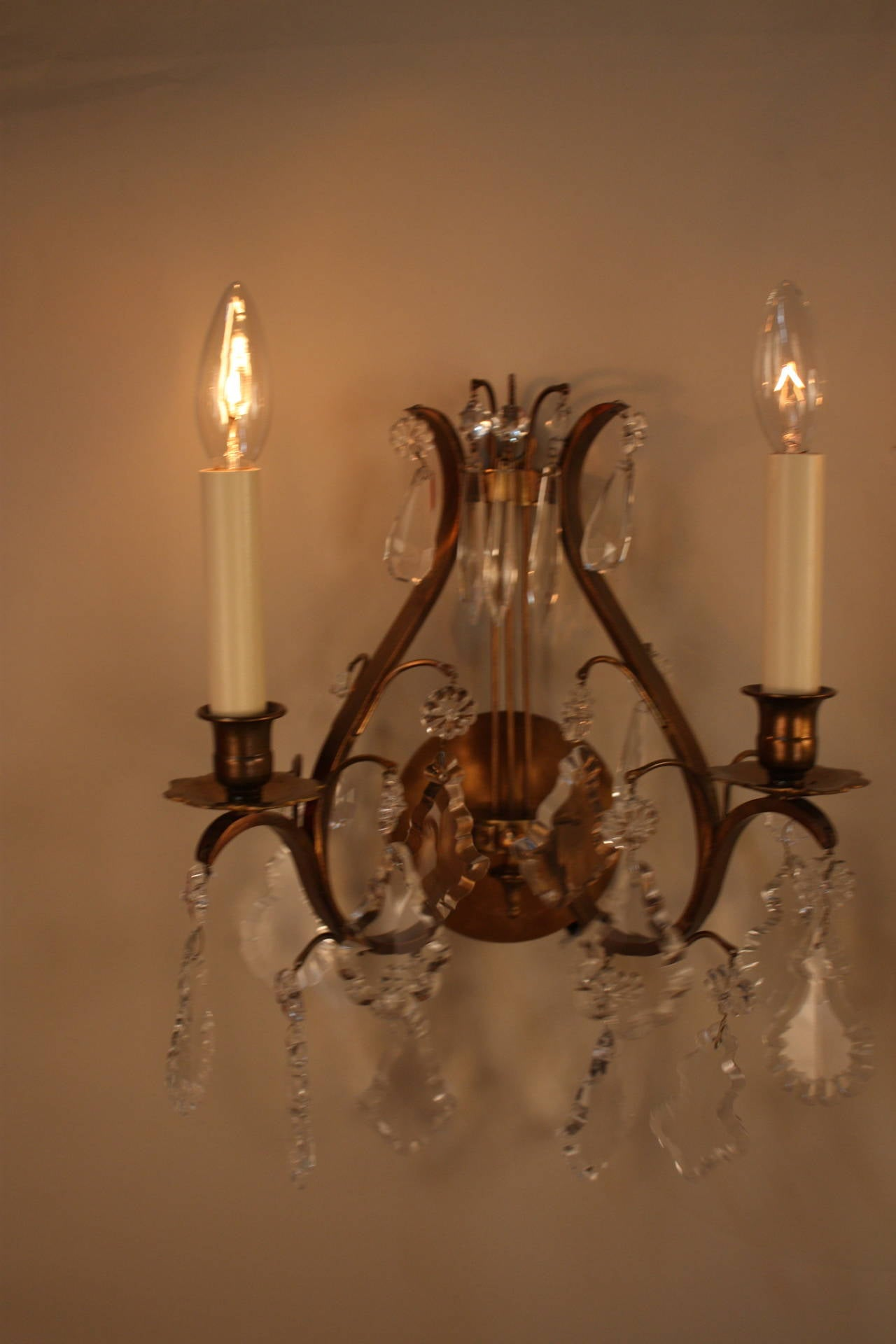 Pair of French Crystal and Bronze Wall Sconces at 1stdibs