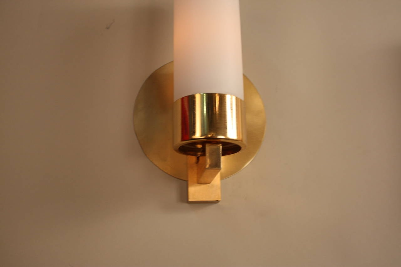 Modern Bronze Wall Sconces : Pair of Modern Bronze Wall Sconces at 1stdibs