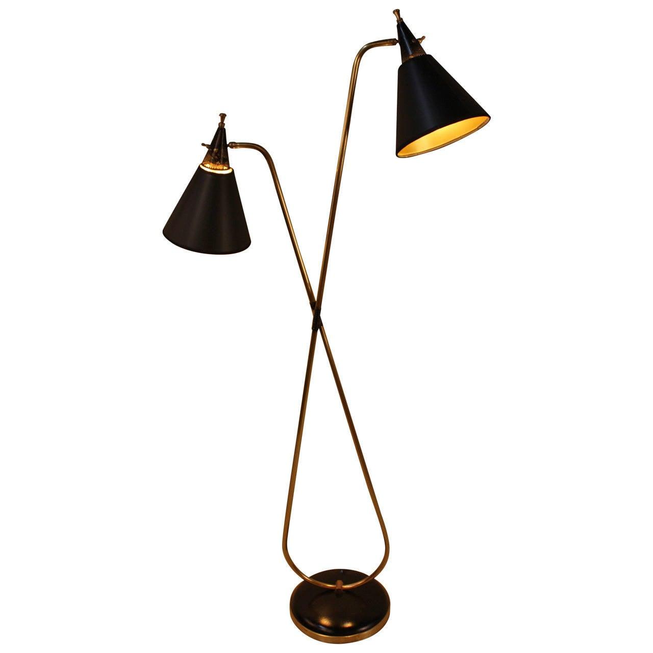 Mid-Century Double Light Floor Lamp at 1stdibs
