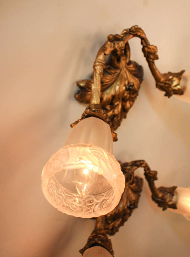 Wall Sconces Deco : Pair of Art Deco Wall Sconces at 1stdibs