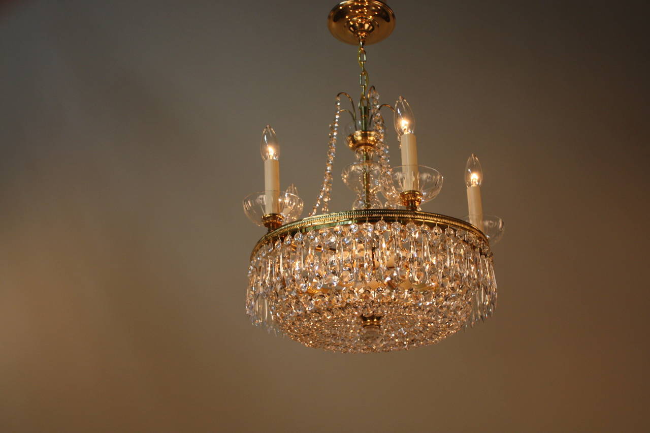 Set Of Three Mid Century Crystal Chandeliers At 1stdibs