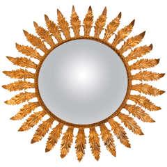 Midcentury Gold Leaf Sunburst Mirror