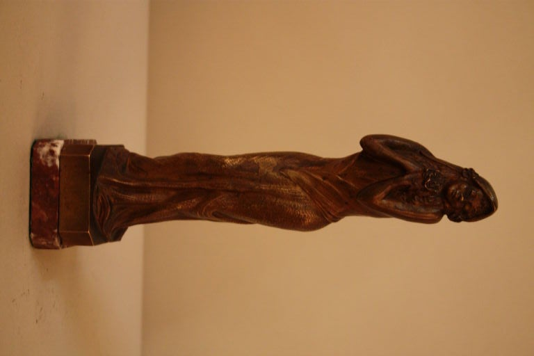 French Art Nouveau Bronze Sculpture In Good Condition For Sale In Fairfax, VA