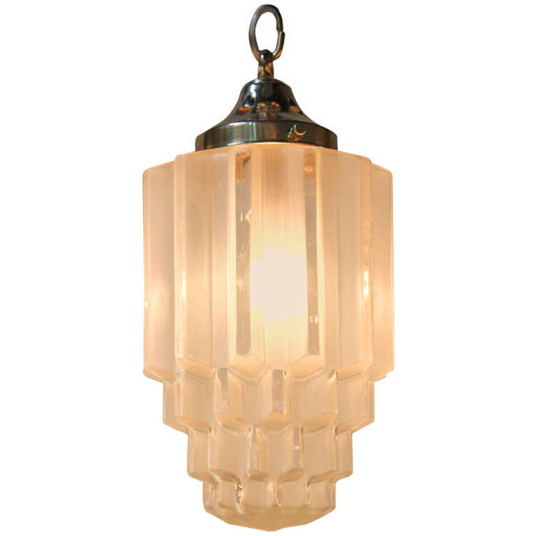Art Deco Outdoor Hanging Lights: Large 1930s Art Deco Pendant Light At 1stdibs