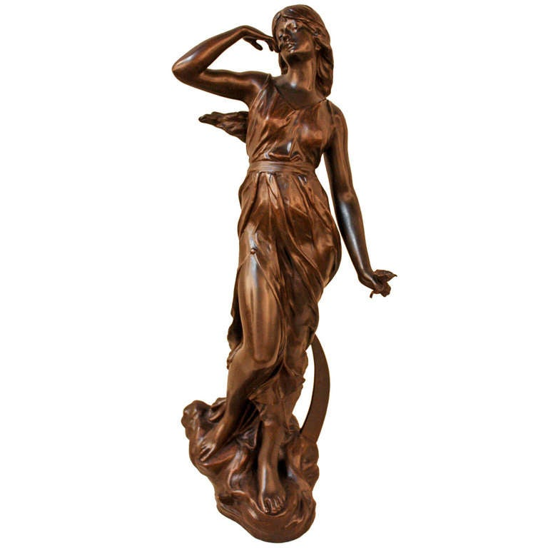 art nouveau bronze statue by julien causse at 1stdibs. Black Bedroom Furniture Sets. Home Design Ideas