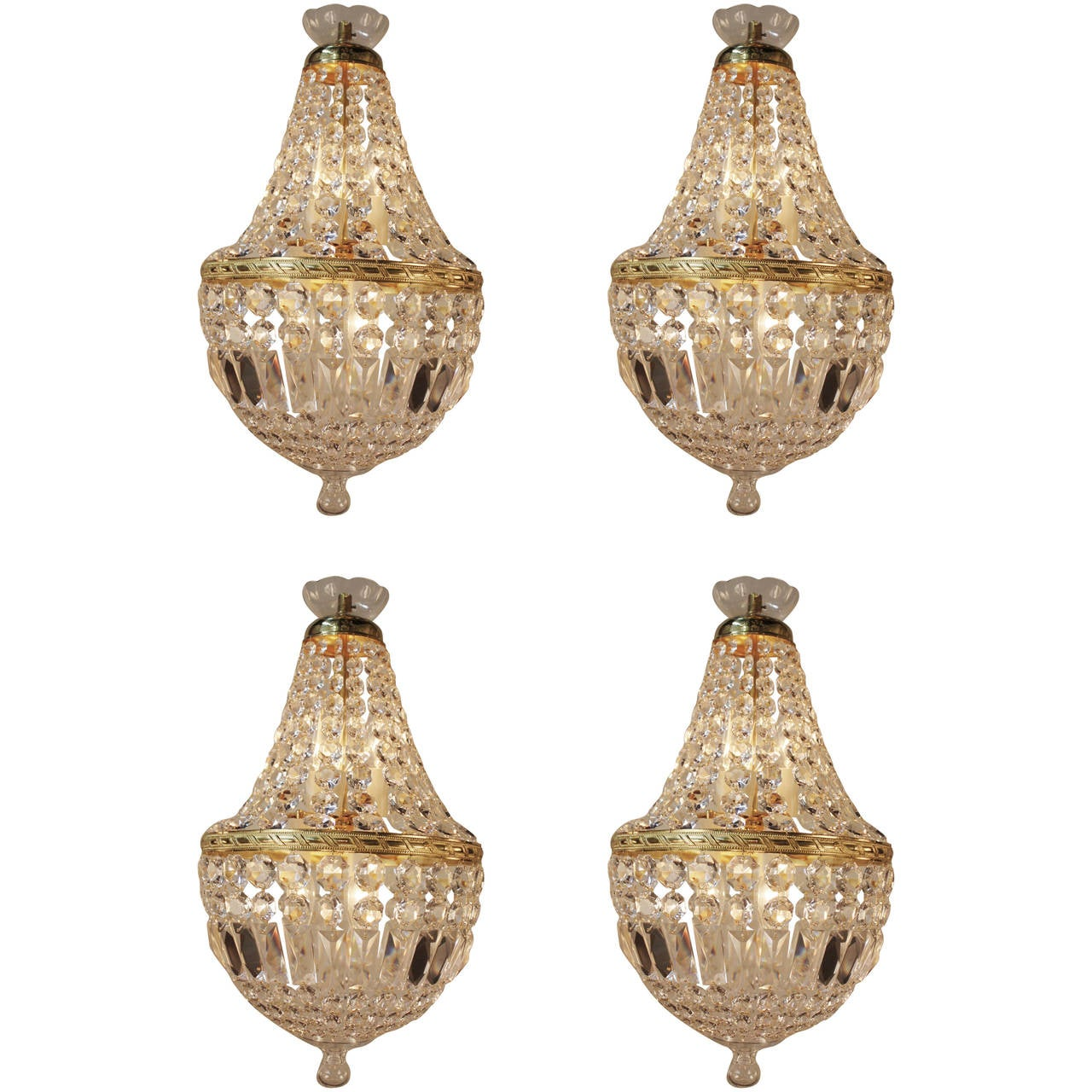 Set Of Four Mid Century Crystal Chandeliers At 1stdibs