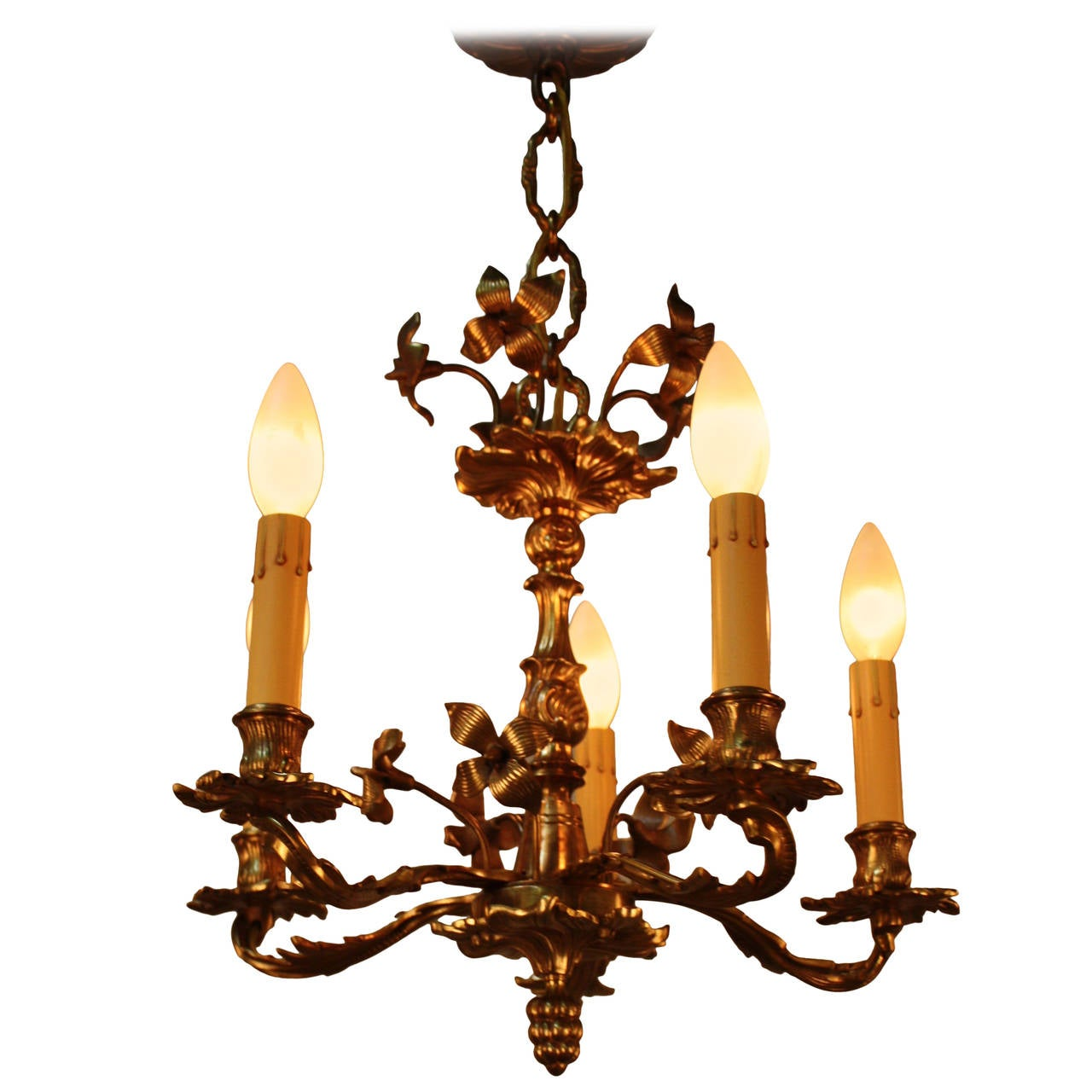 French art nouveau bronze chandelier at 1stdibs for Chandelier art nouveau