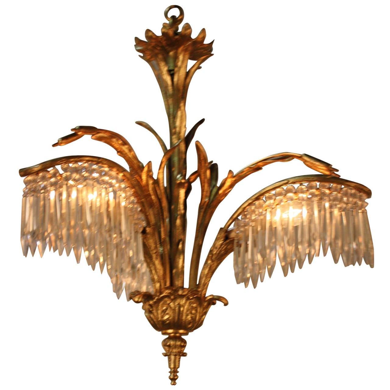 Bronze And Crystal Chandelier Flush Mount By Bagu S At 1stdibs
