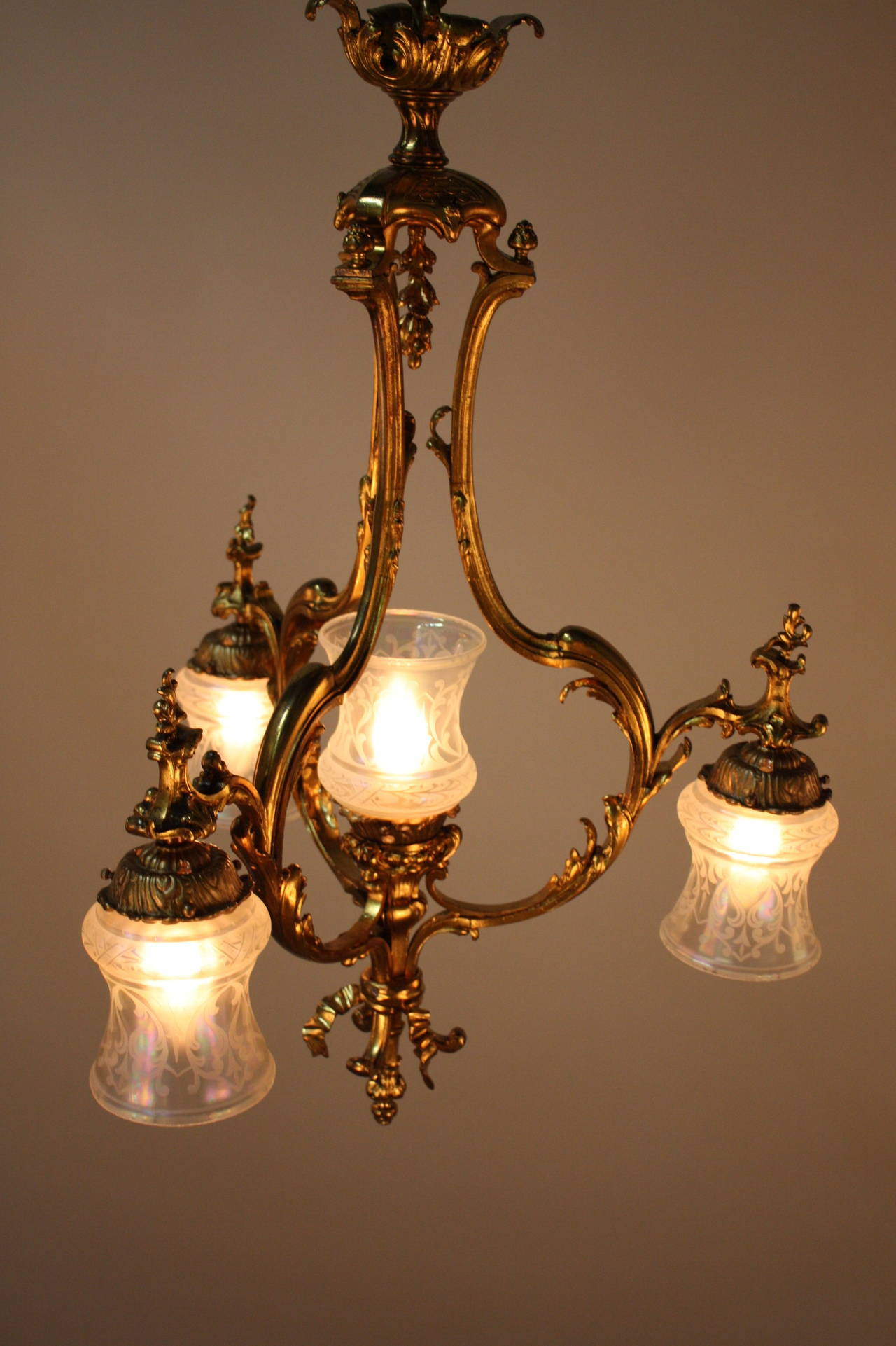 French 1930s Bronze And Etched Glass Chandelier At 1stdibs