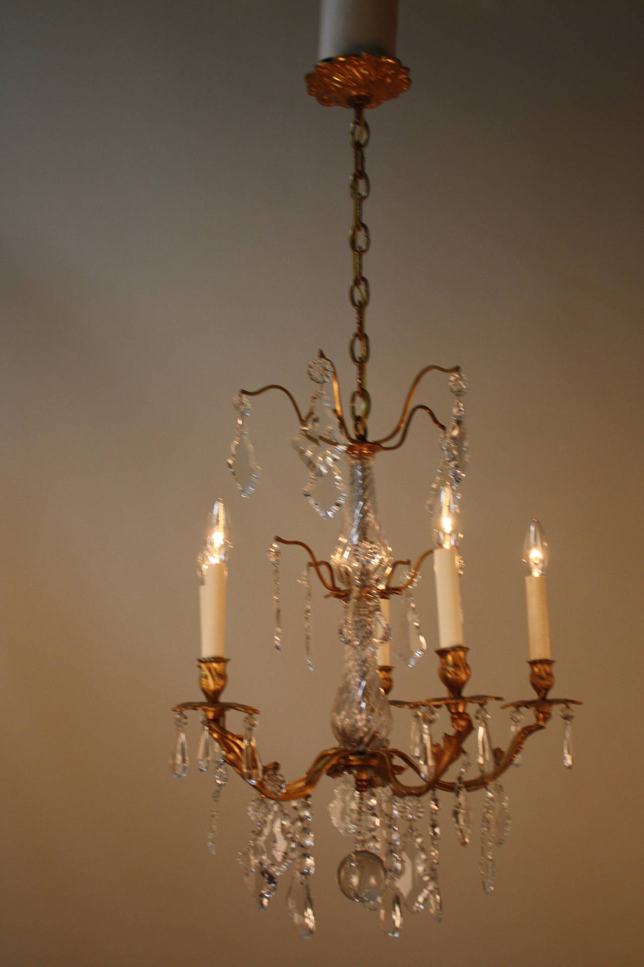 French art nouveau dore bronze and crystal chandelier at for Chandelier art nouveau